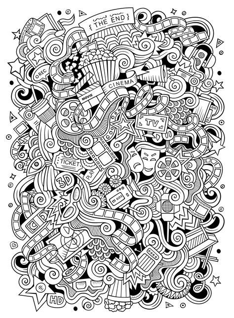 Cinema Doodle Doodle Art / Doodling Adult Coloring Pages