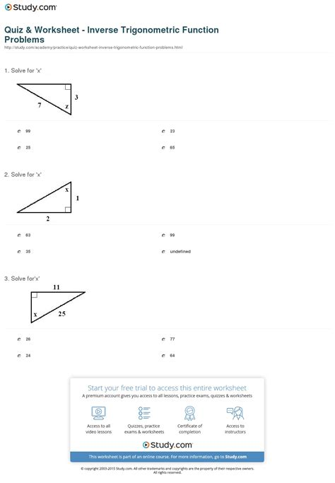 Quiz & Worksheet  Inverse Trigonometric Function Problems Studycom