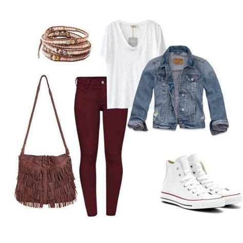 Jean jacket white converse   Maroon jeans outfits ideas   Pinterest   Denim jackets Pants and ...