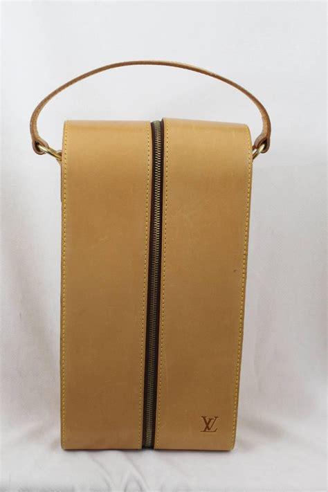 vintage  louis vuitton natural leather wine bottle case bag  stdibs