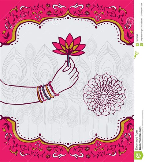 india lotus flower  woman hand background stock vector