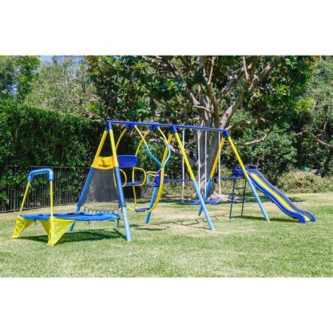 Kid Swing Set playground set outdoor swing slide w troline
