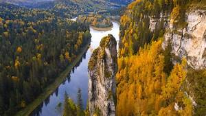 Areial, View, Of, River, Between, Green, And, Yellow, Trees, Covered, Forest, In, Russia, Hd, Nature