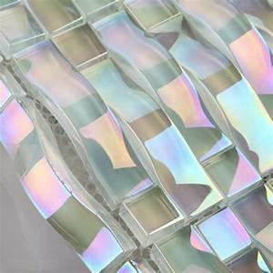 Glass, Mosaic, Tile, Interlocking, Arched, Crystal, Glass, Tile, Backsplash, Yf