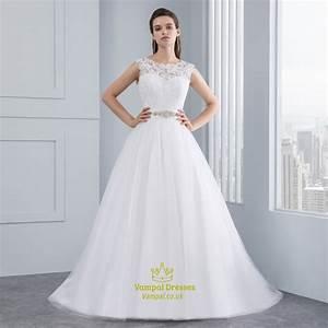 elegant sleeveless lace bodice a line v back wedding dress With v back wedding dress
