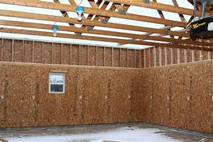 Image of finishing garage walls plywoodgarage interior for Garage interior sheathing ideas