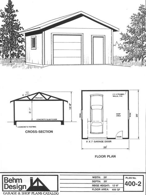 Garage Plan # 400-2, 400 sq ft. simple little design for a