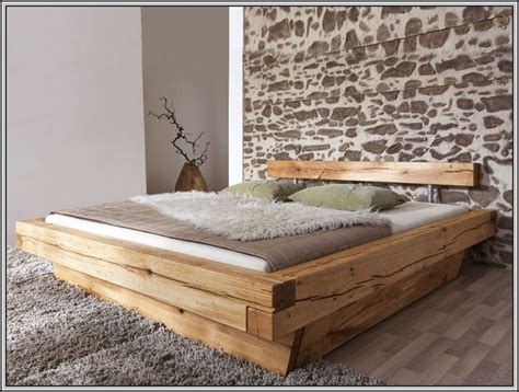 Bett Holzbalken Selber Bauen  Betten  House Und Dekor