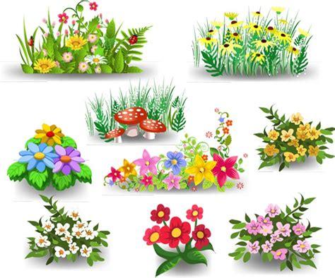 9 Cartoon Flowers Design Vector Material