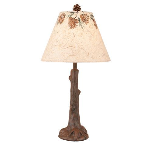 Red Oak Tree Trunk Table Lamp with Pine Cone Shade