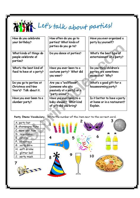 What Are You Bringing To The by Let 180 S Talk About Esl Worksheet By Estherlee76