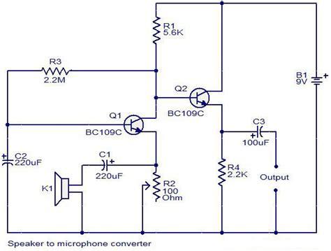 Speaker Microphone Converter Circuit Diagram