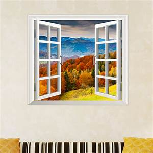 maple grove 3d artificial window view pag wall decals hill With window wall decal