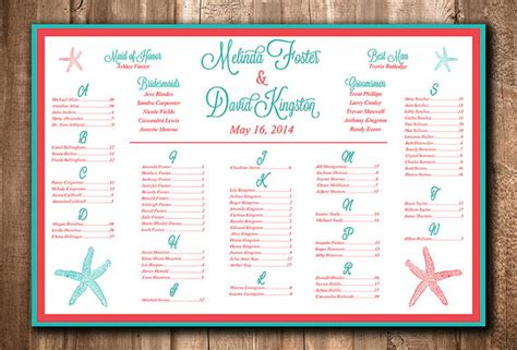 Aqua And Coral Wedding Seating Plans