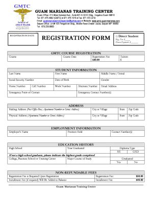 Course Enrolment Form Template by Sle Computer Registration Form Fill