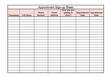 appointment sheets printable template business psd