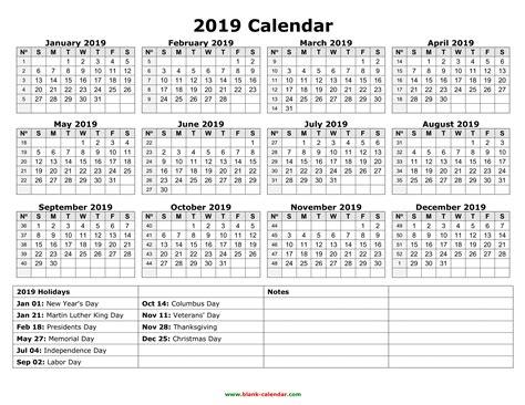 New 2019 Calendar With Federal Holidays Printable