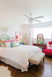 White bedroom with pops of color.   Bed + Bath   Pinterest ...