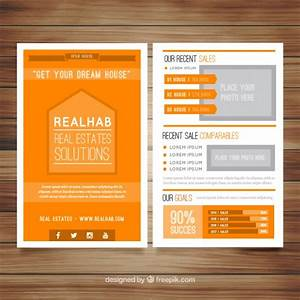 Orange real estate brochure Vector   Free Download