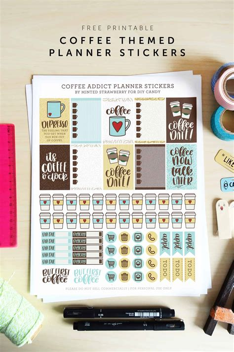 coffee themed printable planner stickers diycandycom
