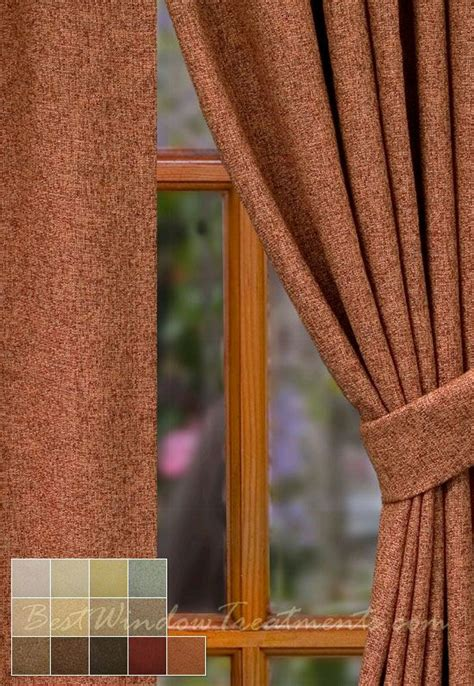 paprika burnt orange rust curtain panels   wool