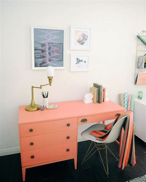 home office with coral desk pantone echo