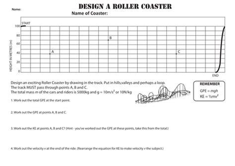 gpe and ke worksheet design a rollercoaster worksheet gpe ke by uhf