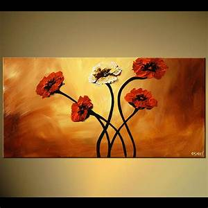 Painting - large red flowers home decor floral #5349