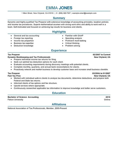 Tax Accounting Resume by Unforgettable Tax Preparer Resume Exles To Stand Out Myperfectresume