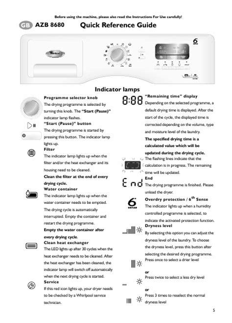mode d emploi seche linge whirlpool 6eme sens mode d emploi seche linge whirlpool 28 images whirlpool azb 8680 azb8680 mode d emploi