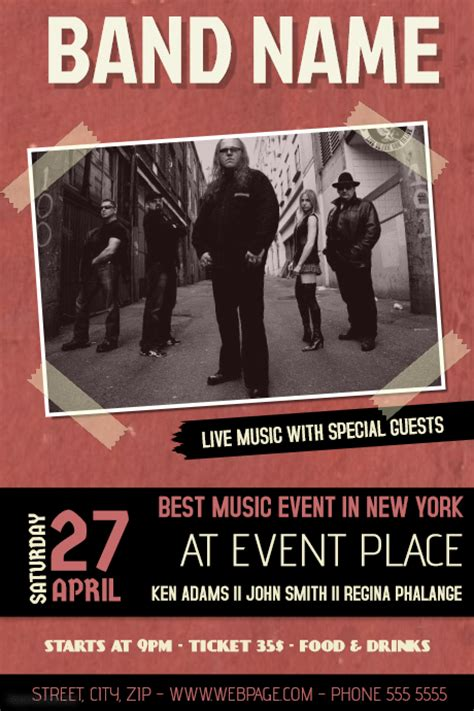 band flyer template band concert event flyer template with picture postermywall