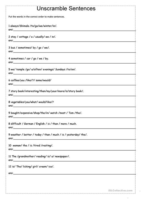 unscramble sentences worksheet  esl printable