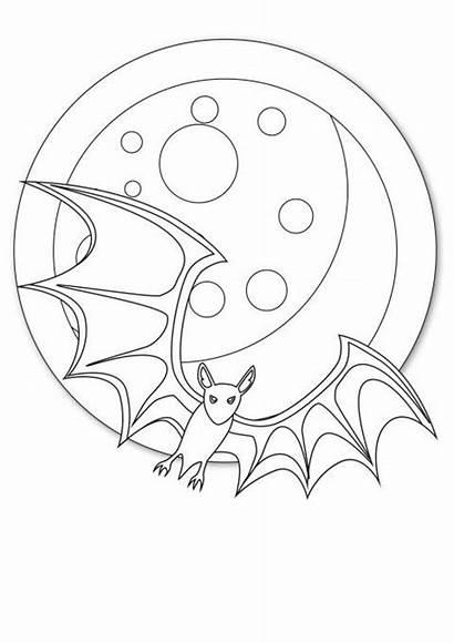 Bat Coloring Flying Halloween Happy Disimpan Dari