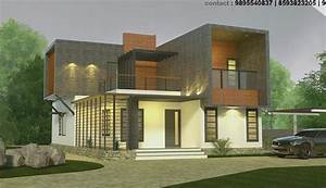 2100, Sq, Ft, Double, Floor, 4, Bhk, Contemporary, Home, Design