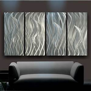 Decorating: Sheet Metal Wall Art And Luxury Gray Sofa On