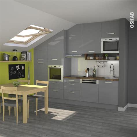 cuisine sous pente cuisine grise moderne façade stecia gris brillant pièces