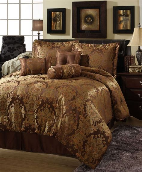 beautiful rich elegant 7 pc brown gold comforter set