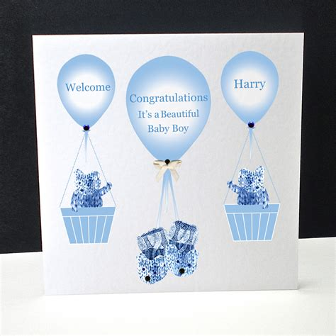 booties  balloons   baby boy card decorque cards