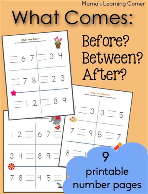 what comes before between and after counting worksheets mamas learning corner