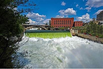 Spokane Usa Fall Washington Rivers Waterfalls Houses