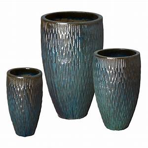 Tall Round Textured Pots