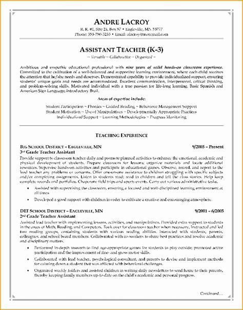Teaching Assistant Resume by 6 Assistant Resume Writing Free Sles