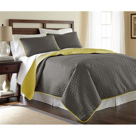 Bamboo Coverlet by 3 Solid Reversible Coverlet Set Leaf Steel Gray