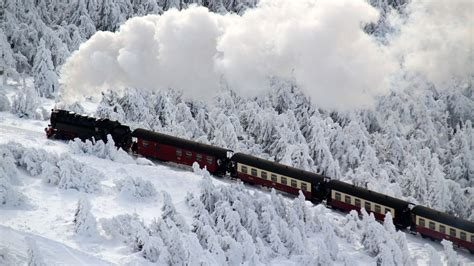 winter germany train landscape scenes riding snow mountain steam railway harz getty through rails brocken covered locomotive december npr pine