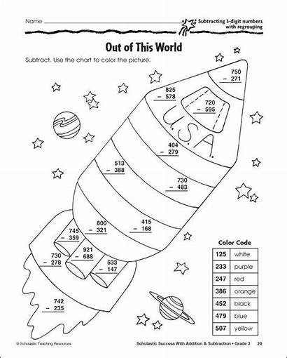 Subtraction Digit Worksheets Regrouping Coloring Math Number