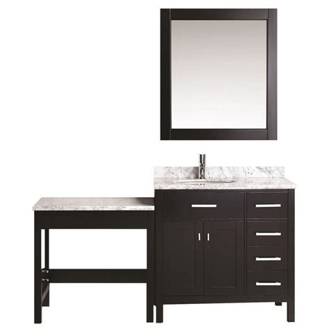 single sink bathroom vanity with makeup table design element 36 in w x 22 in d vanity in