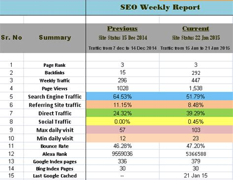 weekly monthly seo report format