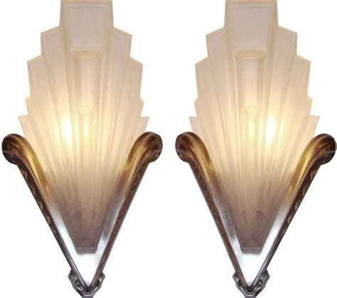 french art deco geometric frosted glass and nickel sconces