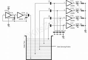 water level detection sensing using 4049 ic water level With water sensor circuit diagram using ic 555 loublet schematic