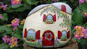 Painted Fairy Cottage Garden rock Miniature House gnome